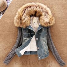2015 new women winter slim yarn large fur collar lamb cotton denim outerwear jeans women's  Autumn short denim jacket 990B(China (Mainland))