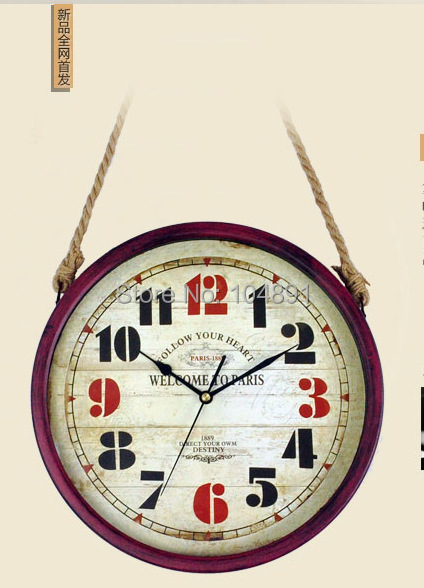 Single -faced wall hanging kitchen clocks wrought Iron clocks Large decorative wall clocks retro home clocks with hemp rope(China (Mainland))