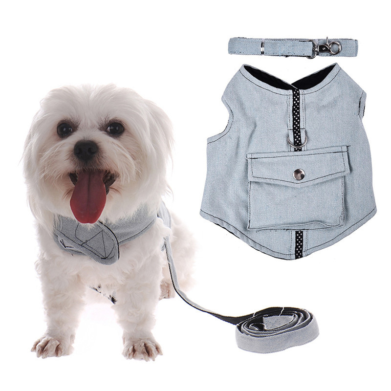 Wholesale Cheap Denim Dog Puppy Vest and Leashes Harnesses Clothes Cat Dog Pet Collars Leads Harness With 125cm Leash Rope(China (Mainland))