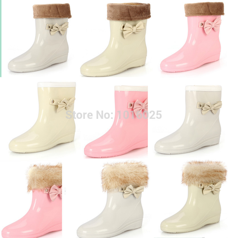 Women's spring and autumn new bow slope with rubber boots / free shipping Ladies work boots and rubber rain shoes(China (Mainland))