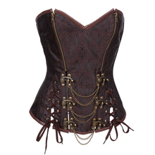 New Sexy Spriral Steel Boned Waist Training Corsets Bustier Steampunk Overbust Embroidery Corset with Zipper Cincher Bustier