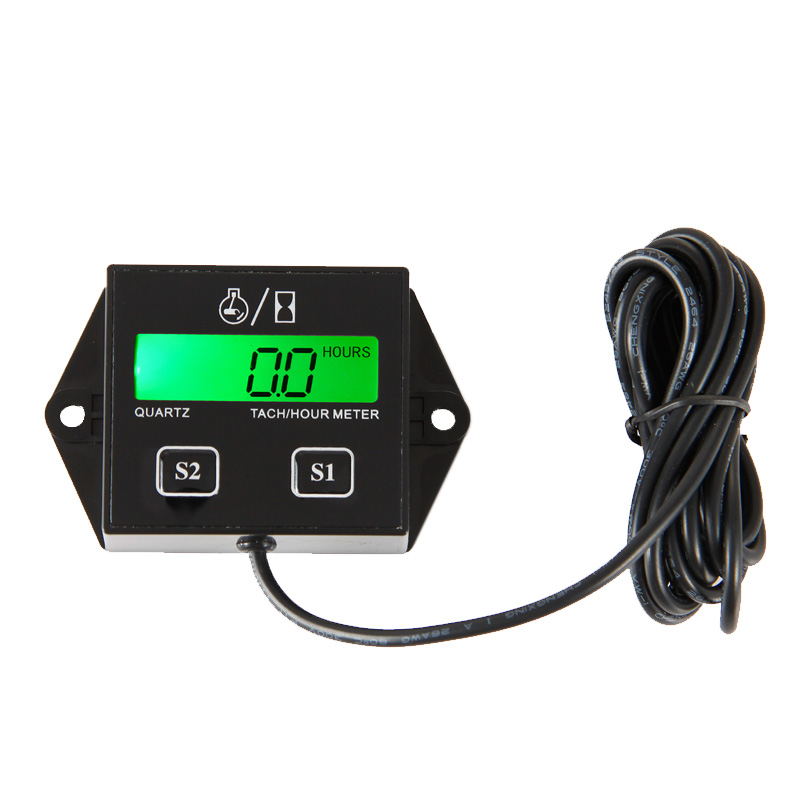 Backlight inductive digital LCD Hour meter tachometer for atv motorcycle generator outboard motocross UTVc balck(China (Mainland))