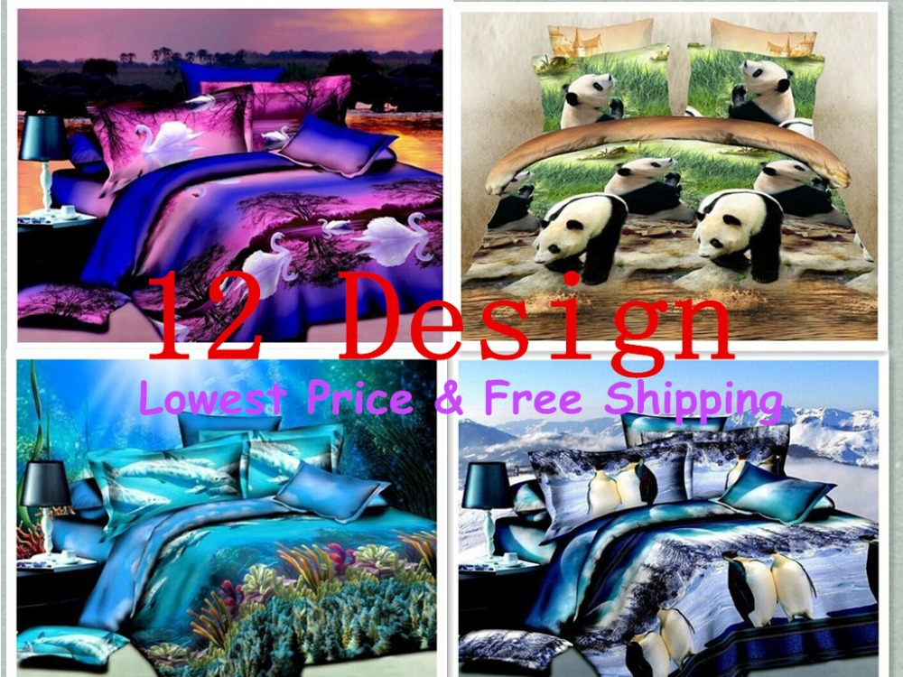 3D bedding sets 4pcs/set Free Shipping duvet cover bed sheet linen set king size bed cover duvet comforter cover clothing(China (Mainland))