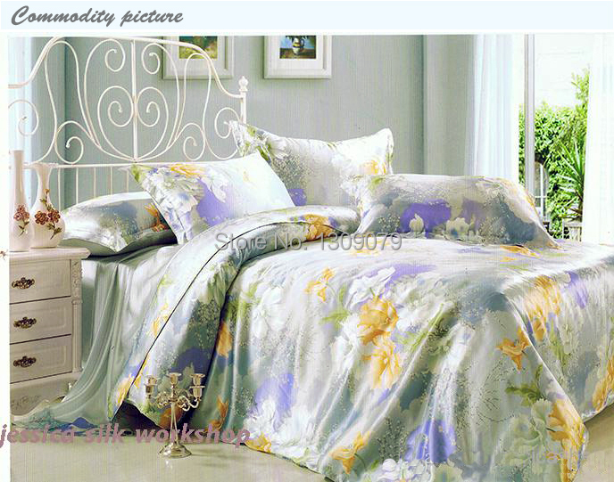 2014HOT/Grade A/100% Silk bedding set/Household Queen Bedding/European pastoral style quilt/Blue bedSheet/Wedding four-piede kit(China (Mainland))