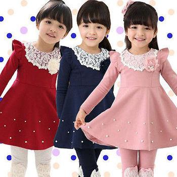 Осень зима дети малышей девочки платье, Жемчуг кружево хлопок длинный рукав платье девочка одежда 1-6Y
