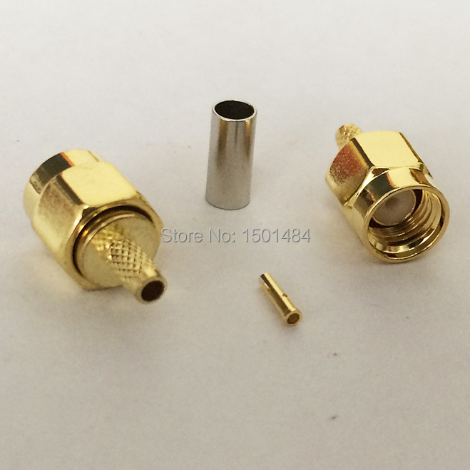 RP-SMA Male Plug  RF Coax Connector Crimp for  RG316,RG174,LMR100  Straight Goldplated  NEW wholesale<br><br>Aliexpress