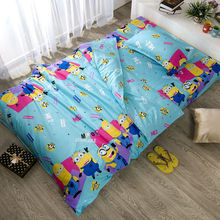 minions cartoon printed bedclothes twin size 3pcs cotton bedding sets for single bed,kids duvet cover set(China (Mainland))