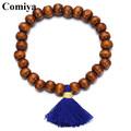 Comiya Trendy wooden beads with blue tassel bracelets for women pulseras femme decoration Buddha Bracelet charm