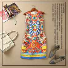 New arrival 2016 spring summer brand fashion runway women vintage stamp queen print dress sleeveless jacquard casual dresses(China (Mainland))