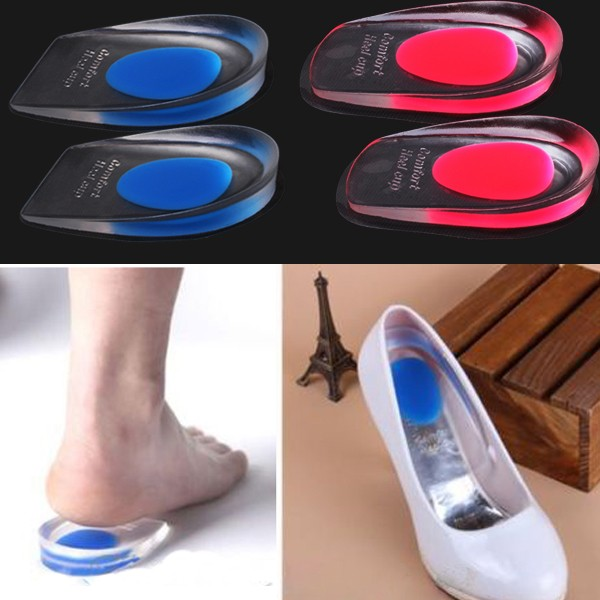 Woman Invisible Foot Half Sole Inserts Insole Height Increase Massaging Gel Shoes Pads Care Cushion Insole Comfy 1Pair(China (Mainland))