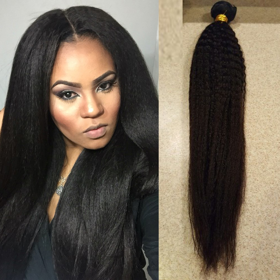 Peruvian Kinky Straight Hair 3 Bundles Peruvian Virgin Hair Straight Weave Coarse Yaki Virgin Hair Yaki Human Hair Distributor
