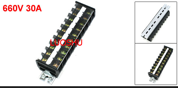 LUOB2,, 660V 30A 2 Rows 10 Positions Clear Covered Screw Terminal Barrier Block(China (Mainland))
