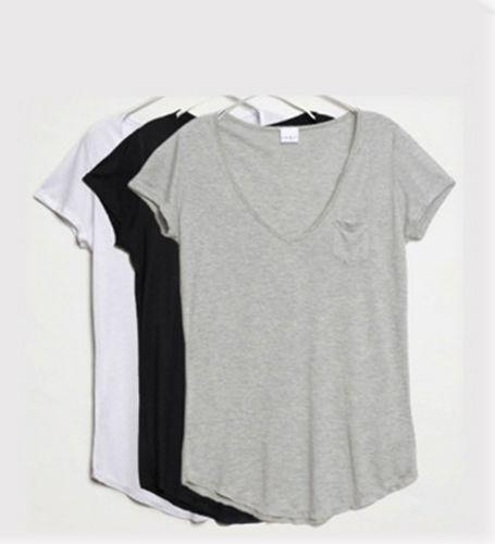 Ladies basic plain cotton slim v neck loose t shirt short for Plain white tee shirt womens