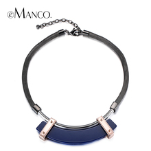 eManco three colors geometric acrylic choker necklace snake chain alloy statement necklaces for women concise creative collar(China (Mainland))