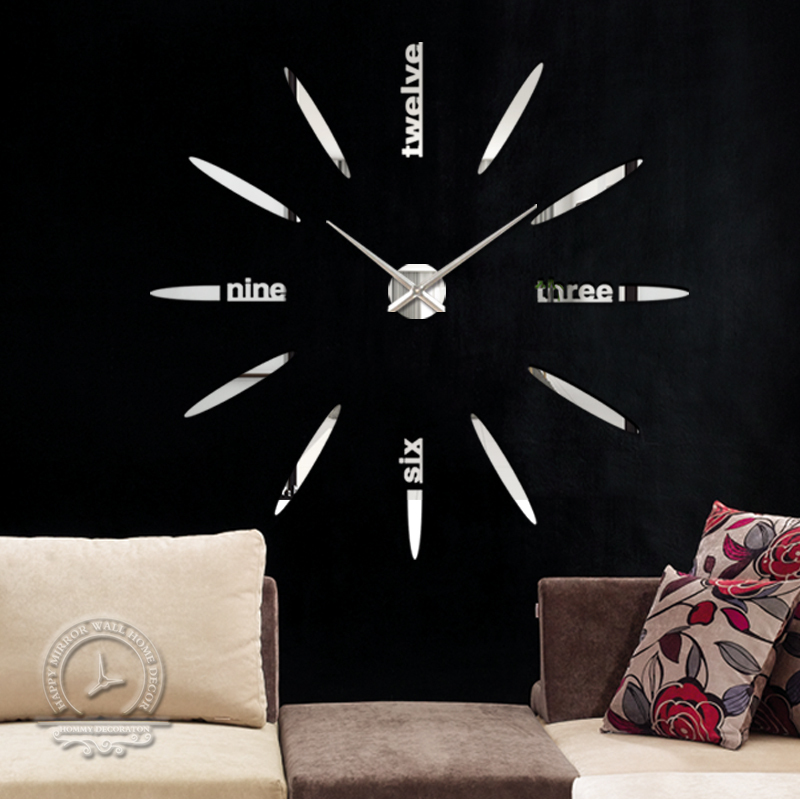 Fashion 3D big size wall clock mirror sticker DIY brief living room house home beautiful creative decor meetting - YIWU MINO HOMEDCOR store