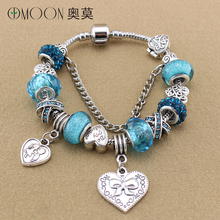 2016 Women Bracelets & Bangles Antique Silver Heart Charms Bracelet for Women Crystal Big Hole Beads Diy Jewelry B15080(China (Mainland))