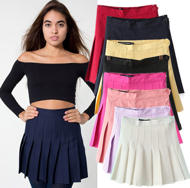 2015 summer American brand fashion women skirt vintage high waist skirt short feminino bodycon pleated tennis skirt plus size(China (Mainland))