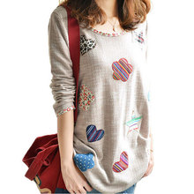 Women Vintage Knitted T Shirt Floral Embroidery Long Sleeve Autumn Winter Tops Plus Size XXXL Brand Tshirt Femininas(China (Mainland))
