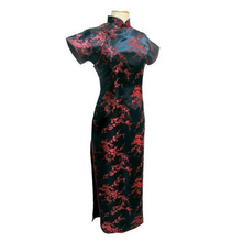 Tang Show Black Red Chinese Traditional Dress Women's Silk Satin Qipao Long Cheongsam Flower Plus size 4XL 5XL 6XL YQ2089(China (Mainland))