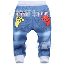 2016 New Fashion Kids Jeans Elastic Waist Straight Cartoon Jeans Denim Seventh Pants Retail Boy Jeans For Kids 2-5 Y(China (Mainland))