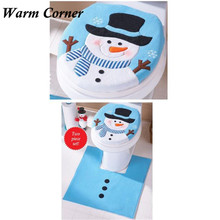 Buy 1 Set Toilet Cover New Christmas Decor Blue Happy Christmas snowman Toilet Seat and Tank Cover Set Free Shipping M01 for $8.99 in AliExpress store