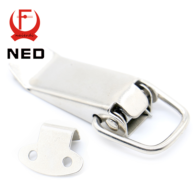 4PC NED J105 Hardware Cabinet Boxes Spring Loaded Latch Catch Toggle Hasp 27*63 Iron Hasp For Sliding Door Simple Window Cabinet(China (Mainland))