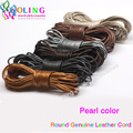 Leather Cords 2mm 5M Craft Round pearl Genuine pearls Cord rope Wire string new 2016 DIY