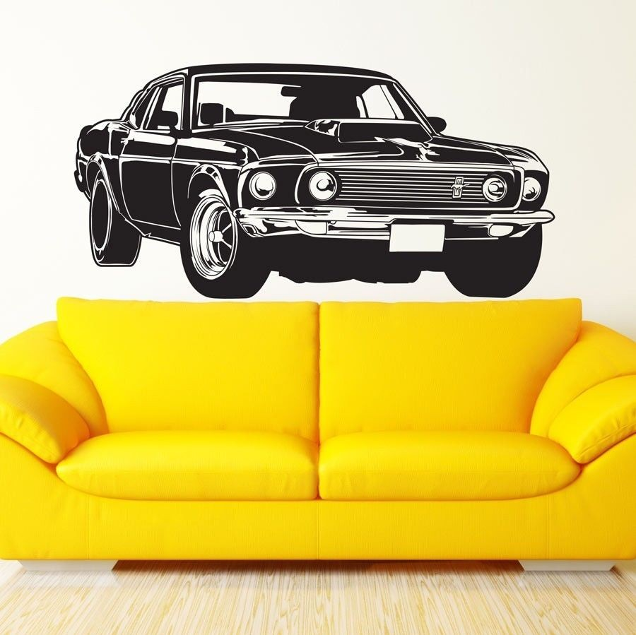 Hot Sale Shelby GT Ford Mustang Muscle Racing Car Wall Mural Vinyl Art Decor Sticker Vinyl Wall Decal Mural Wall Sticker Y-300(China (Mainland))