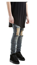 ripped jeans for men skinny Distressed slim famous brand designer biker hip hop swag tyga white black jeans kanye west(China (Mainland))
