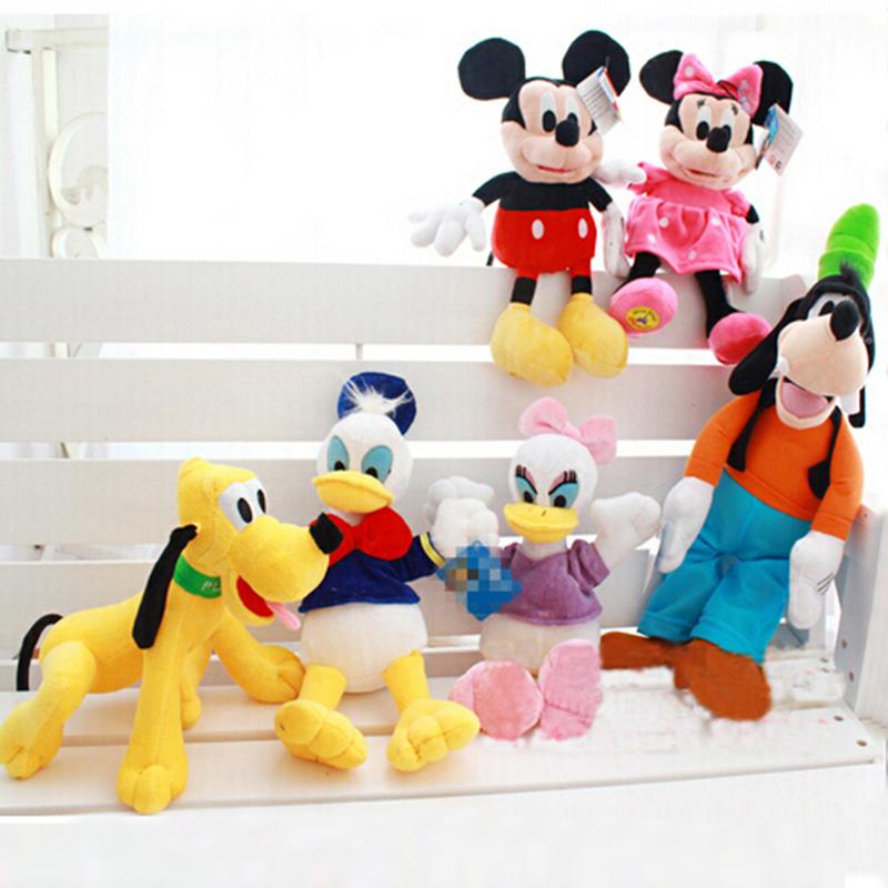 30cm Plush Toys Soft Stuffed Animals Doll Mickey Minnie Donald Duck and Daisy Duck Goofy Dog Pluto Dog(China (Mainland))
