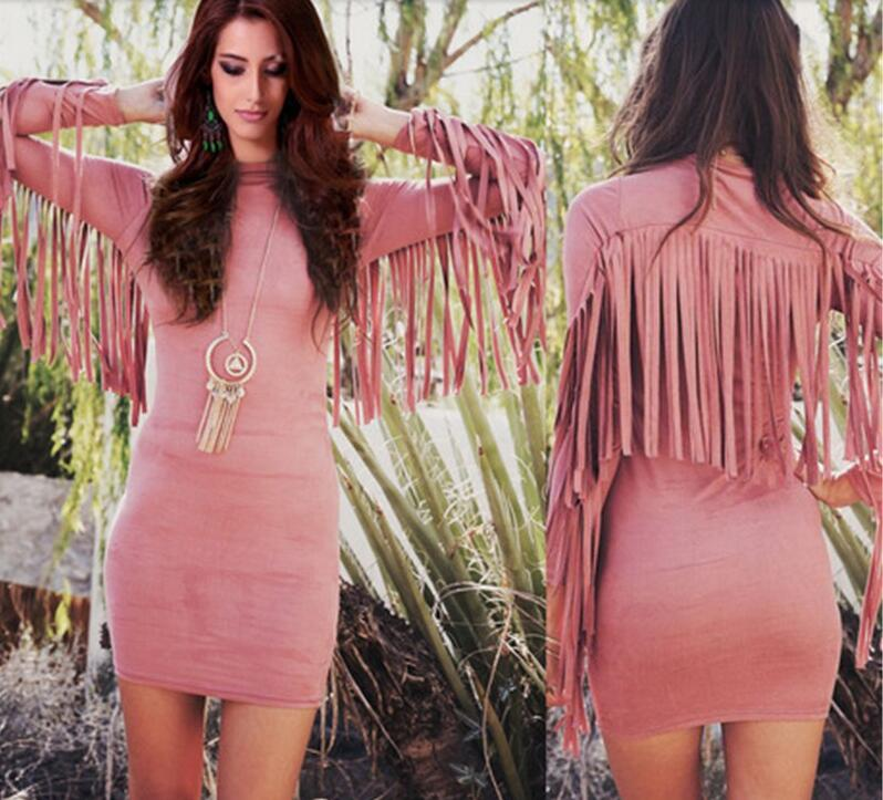 New Novelty Winter Dress Women Sexy Back Fringe Tassel Dress Long Sleeve Slim Bodycon Dress Nightclub Bandage Party Dresses(China (Mainland))