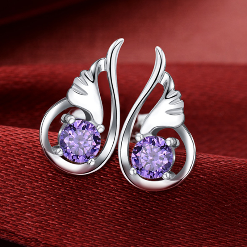 Womens Fashion Jewelry Silver Plated Angel Wings Crystal Ear Stud Earrings For Men Round Amethyst Wedding Earrings Accessories(China (Mainland))