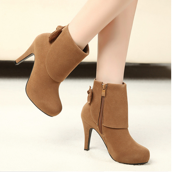 fall winter 2014 high fashion bowknot round head short boots women's shoes new knight - Alpple store