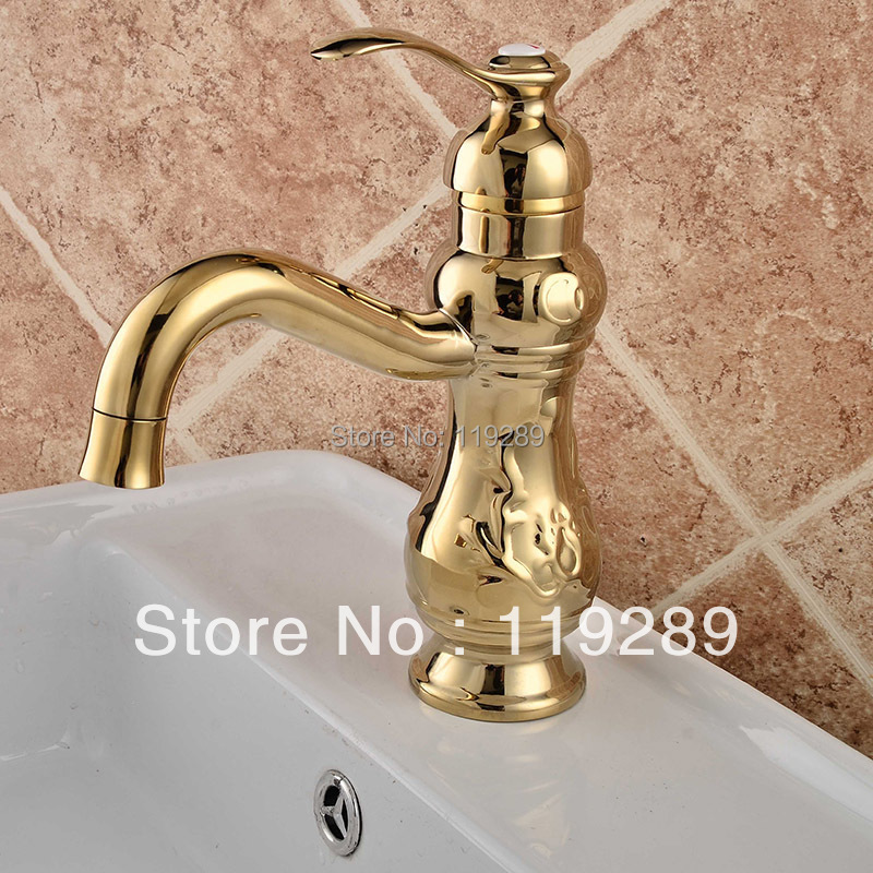 Golden Brass Bathroom Basin Faucet.Gourd-shaped short neck polished water faucet. hot&cold basin sink Mixer Tap B-006.(China (Mainland))