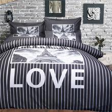 Twin/Queen/King Size Wedding Bedding Set Duvet Cover Eiffel Tower Village Bedsheet Pillow Case EMS/UPS/FedEx(China (Mainland))