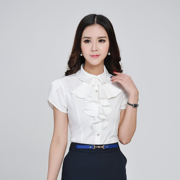 Amazing Ladies Blue Shirts Women Long Sleeve Blouse Office Uniform Shirts