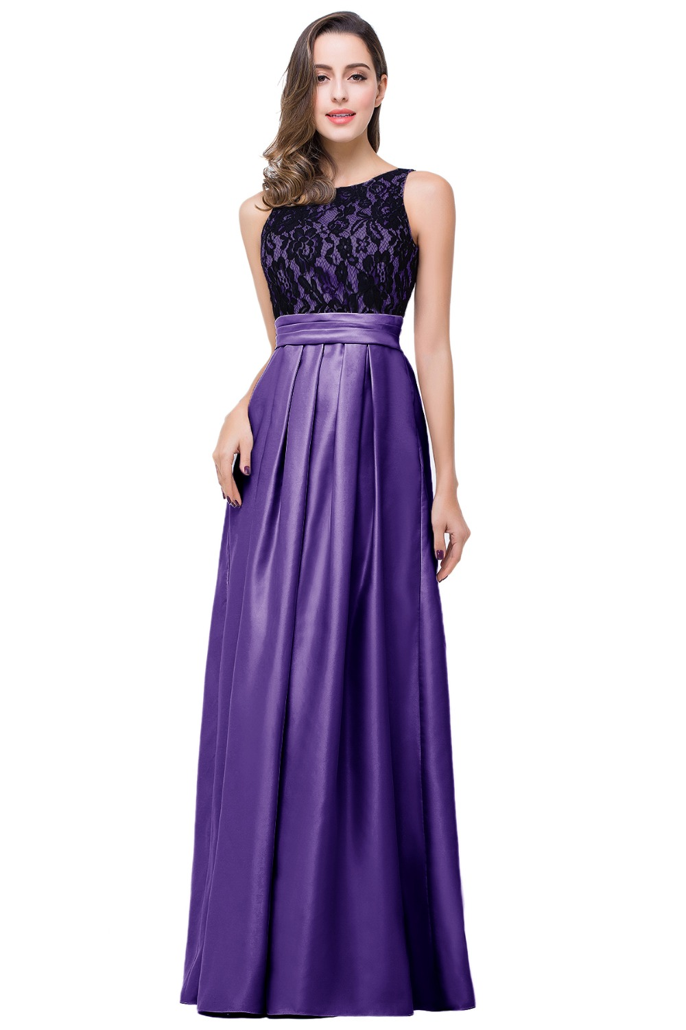 Under 50 Real Picture Robe De Soiree Lace Long Purple