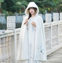 Buy 2017 new Chinese real winter wind Han Embroidery elements long hooded cloak Velvet Cloak coat manteau femme doudoune femme for $45.72 in AliExpress store
