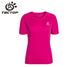 TECTOP 2016 New Outdoor Men Women Quick Drying T-shirt Sport Hiking Camping Short Sleeve Round Collar Quick Air Clothes