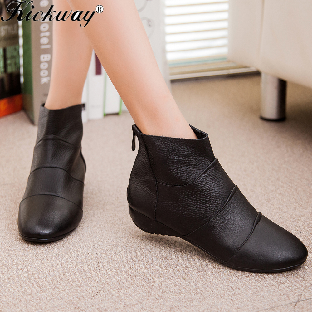 Plus size 34-44 Genuine leather boots women 2016 New Arrival Women ankle Boots Fashion Spring Autumn womens boots Free Shipping(China (Mainland))