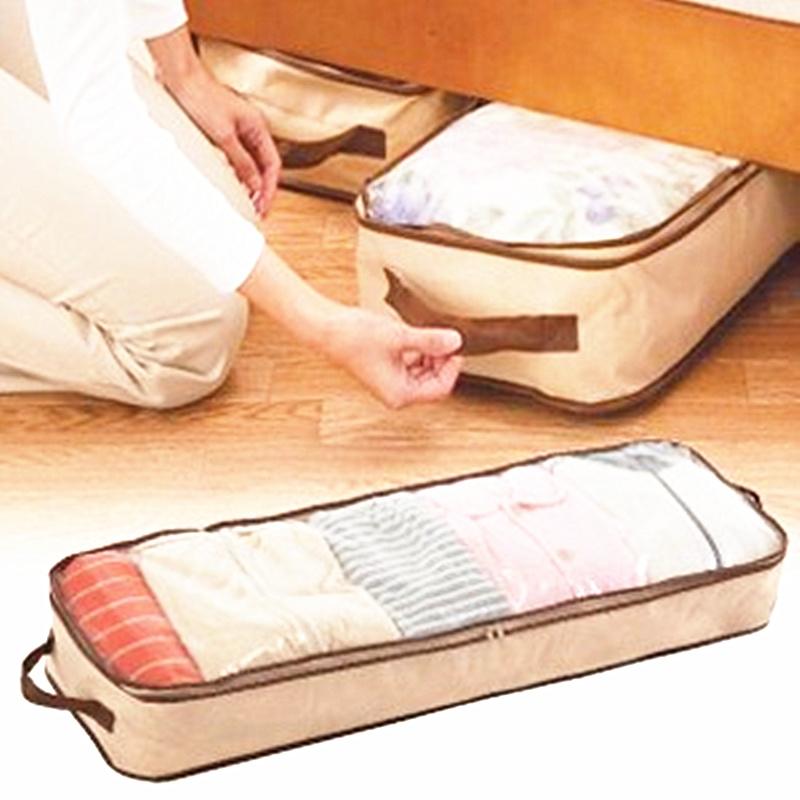 47L Beige Bag Home Save Space Organizador Underbed Closet Storage Bag Clothes Divider Organiser Quilt Organizer Under Bed(China (Mainland))