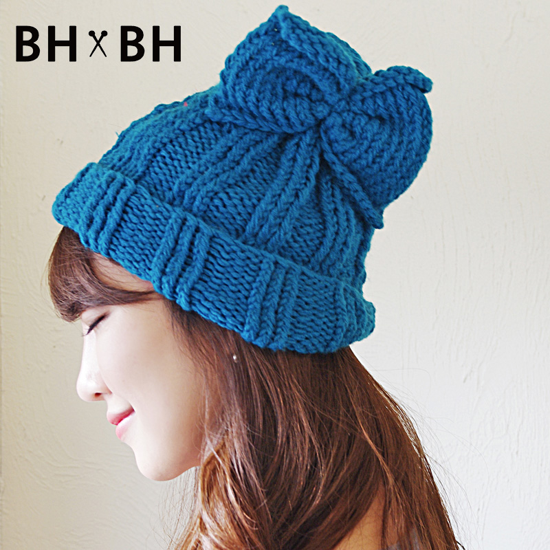 2016 New design casual women beanies solid skullies hand-knitted hat in autumn winter elegant chapeau with bow BH-2255(China (Mainland))