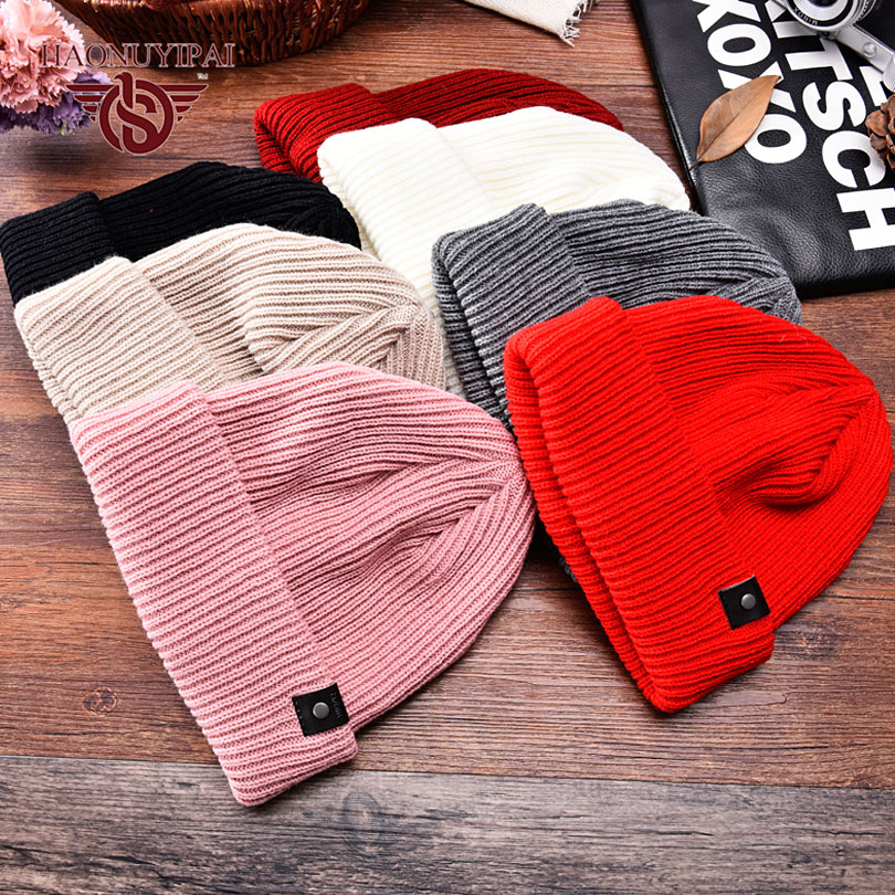 Autumn Winter Fashion Warm Knit Hats For Women Casual Sport Cotton Caps Striped Ear Skullies & Beanies Pink White Black ZW039(China (Mainland))