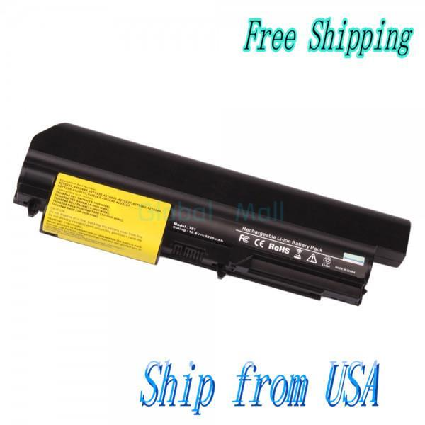 """Ship From USA Laptop Battery 5200mAh 6 cell 10.8V for ThinkPad R61i T61 R61 (14.1"""" Widescreen) T400 Series N00034(China (Mainland))"""