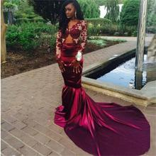 Buy Vestido De Festa Sexy Vintage Mermaid Burgundy Prom Dresses 2017 Long Sleeves Lace Appliques Evening Dresses Custom Made WH148 for $179.99 in AliExpress store