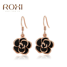 Roxi Fashion Jewelry High Quality Rose Gold Plated Filled Black Golden Flower Glamourous Dangle Ladies Earrings(China (Mainland))