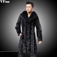 2015 New Brand Men's Faux Fur Coat Slim Fit Single Breasted Coat Business Casual Fur Longer Coat Z1406(China (Mainland))