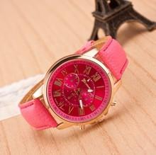 2015 New Casual Fashion watch Geneva Roman Numerals Leather Quartz Watch Women Dress Watches For Ladies