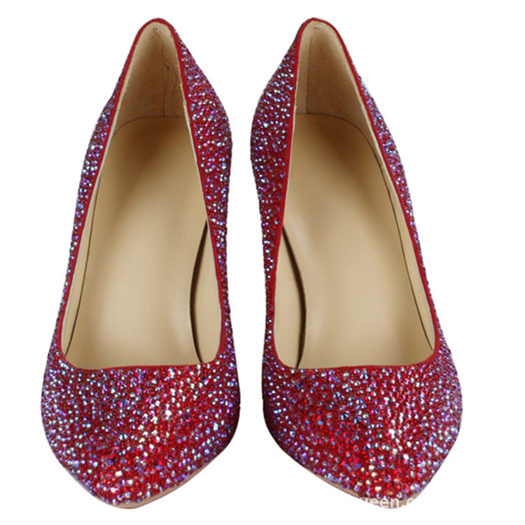 New fashion wedding shoes red crystal handmade high heels bridal shoes pointed toe elegant party Prom pumps single shoes<br><br>Aliexpress