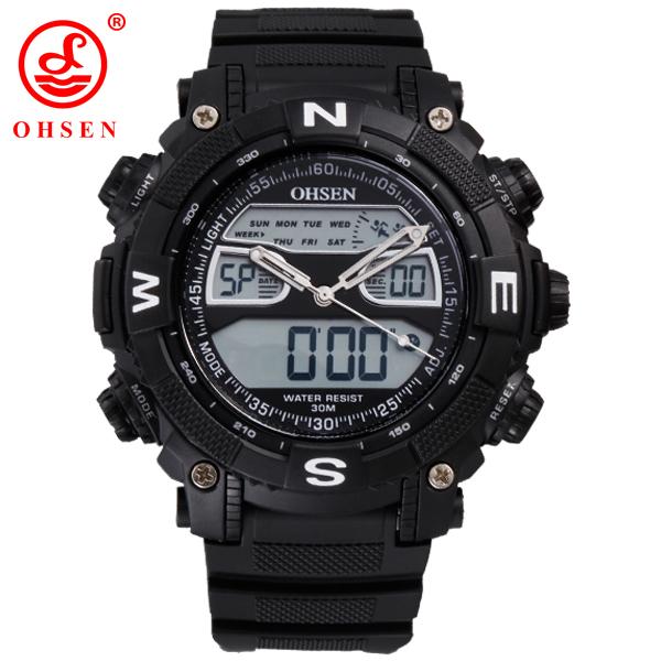 Бренд кварцевые цифровые спортивные часы открытый мужские военные наручные часы Relogio Masculino мужской часы Ohsen черный